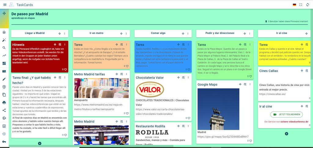 Bild einer Pinnwand in Taskcards mit Stationen zu einem Besuch in Madrid