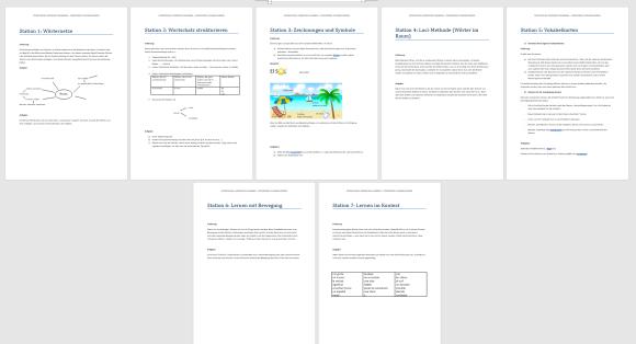 Ein Vorschaubild des Lernzirkels: 7 Seiten mit den einzelnen Stationen
